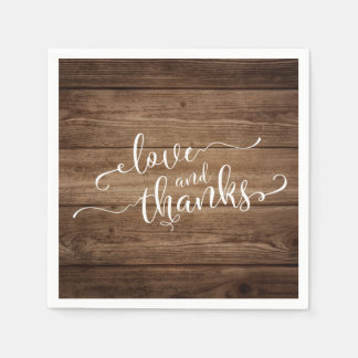 Love & Thanks Elegant White Script on Rustic Wood Disposable Napkin