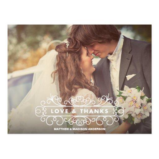 LOVE & THANKS FRAME | WEDDING THANK YOU POST CARD