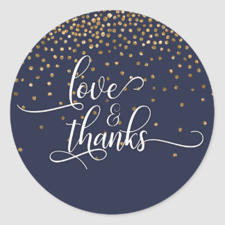 Love & Thanks, Gold Confetti w/ Midnight Blue Classic Round Sticker