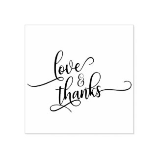 Love & Thanks in Pretty Script Typography Rubber Stamp