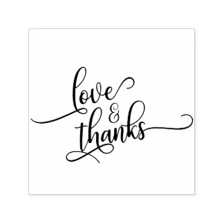 Love & Thanks in Pretty Script Typography Self-inking Stamp