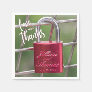 Love Thanks Red Overlay Padlock Chain Link Fence Paper Napkins