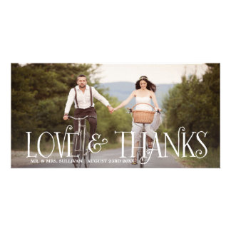 Love & Thanks Retro Script Wedding Thank You Card Personalized Photo Card