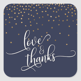Love & Thanks Script, Gold Confetti Midnight Blue Square Sticker