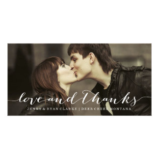 LOVE & THANKS SCRIPT   WEDDING THANK YOU PHOTO CARD