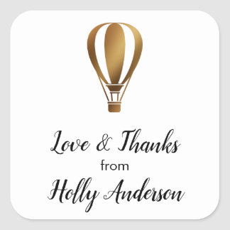 Love & Thanks Smooth Gold Hot Air Balloon w/ Name Square Sticker