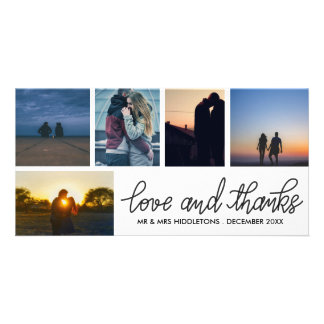 Love & Thanks Wedding Script Five Photo Collage Photo Card Template