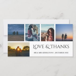 Love & Thanks Wedding Script Five Photo Collage Thank You Card