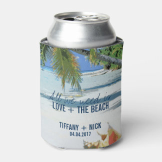Love + The Beach Tropical Wedding Day Favors Can Cooler