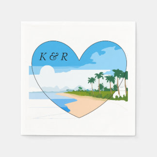 Love the Beach with Heart and Monograms Paper Napkin