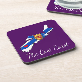 Love The East Coast  Heart N.S coaster set purple