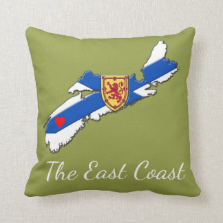 Love The East Coast Heart N.S. pillow olive