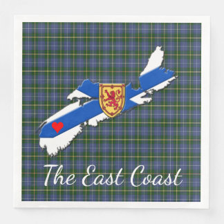 Love The East Coast  Heart N.S  tartan napkins Paper Napkins