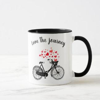 Love the Journey Inspirational Vintage Bike Hearts Mug