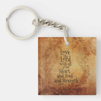 Love the Lord Scripture Matthew 22, Vintage Custom Keychain