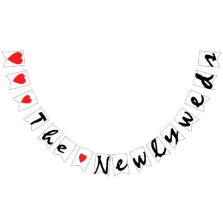 """""""LOVE"""" THE NEWLYWEDS Wedding Sign Decor Bunting Flags"""