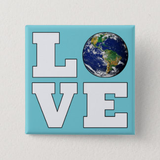 Love the Planet Earth Environmental Protection 2 Inch Square Button
