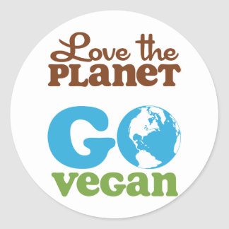 Love the Planet Go Vegan Classic Round Sticker