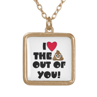 Love The Poop Emoji Gold Plated Necklace