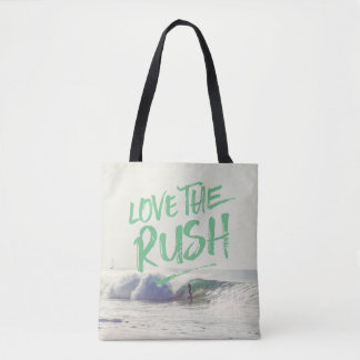 Love the Rush Dry Brush Typography Photo Template Tote Bag