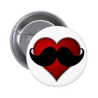 LOVE THE STACHE Heart w/Mustache Moustache 2 Inch Round Button