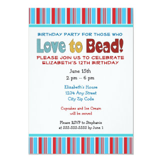 Love To Bead Birthday Party Invitation