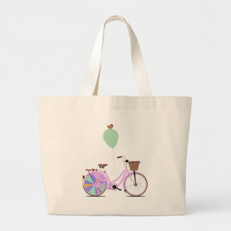 Love to Cycle on my Pink Bike by Andy Scullion Jumbo Tote Bag