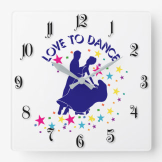 Love to dance square wall clock