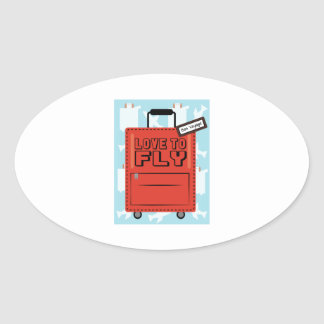 Love to Fly Oval Sticker