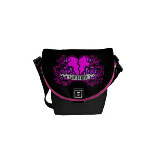 Love to Hate (black and pink) Messenger Bag