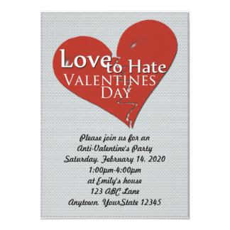 Love to Hate Valentines Day Party Invitation