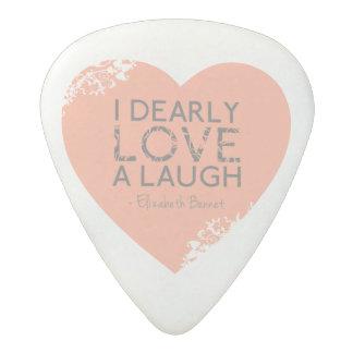 Love to Laugh | Jane Austen Book Quote Pink Heart Acetal Guitar Pick