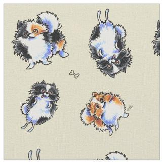 Love To Parti Pomeranians Sand Fabric