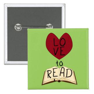 Love to Read - Change Color 2 Inch Square Button