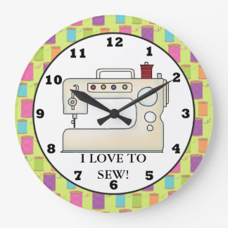 Love to sew sewing machine wall clock