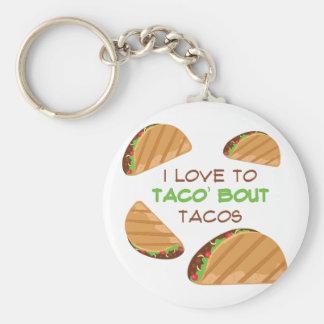 Love To Taco Basic Round Button Keychain