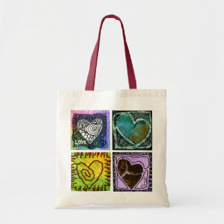 Love Tote Bag - Four Artistic Hearts