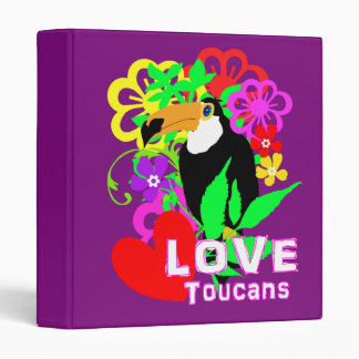 Love Toucans Cute Tropical Animal Colorful Trendy 3 Ring Binder