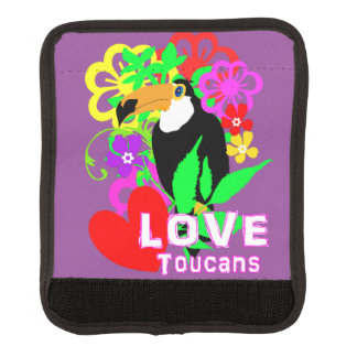 Love Toucans Cute Tropical Animal Colorful Trendy Luggage Handle Wrap