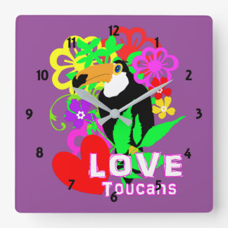 Love Toucans Cute Tropical Animal Colorful Trendy Square Wall Clock
