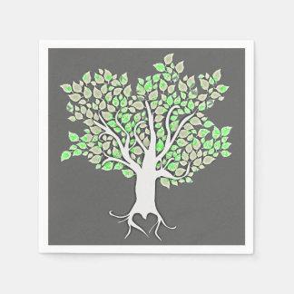 love tree grey mint green wedding paper napkins
