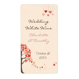 Love Tree Hearts Wedding Wine Label