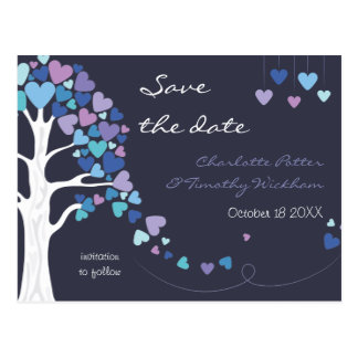 Love Tree Hearts Winter Wedding Save the Date Postcard