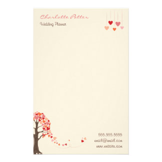 Love Tree with Heart Shaped Leaves Personalized Stationery