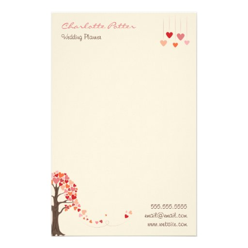 Love Tree with Heart Shaped Leaves Customized Stationery