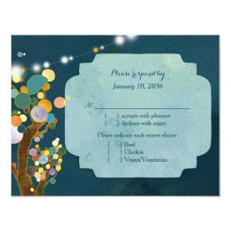 Love Trees in Teal Wedding RSVP Card