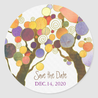 Love Trees Indie Wedding Save the Date Classic Round Sticker