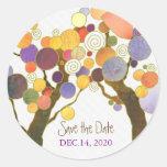 Love Trees Indie Wedding Save the Date Round Sticker