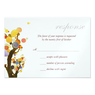 Love Trees White Ice Metallic Wedding RSVP 3 5x5 Personalized Invitation