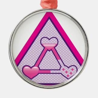 Love Triangle vector artwork Silver-Colored Round Ornament
